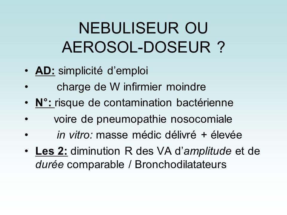 NEBULISEUR OU AEROSOL-DOSEUR ? AD: simplicité demploi charge de W infirmier moindre N°: risque de contamination bactérienne voire de pneumopathie noso