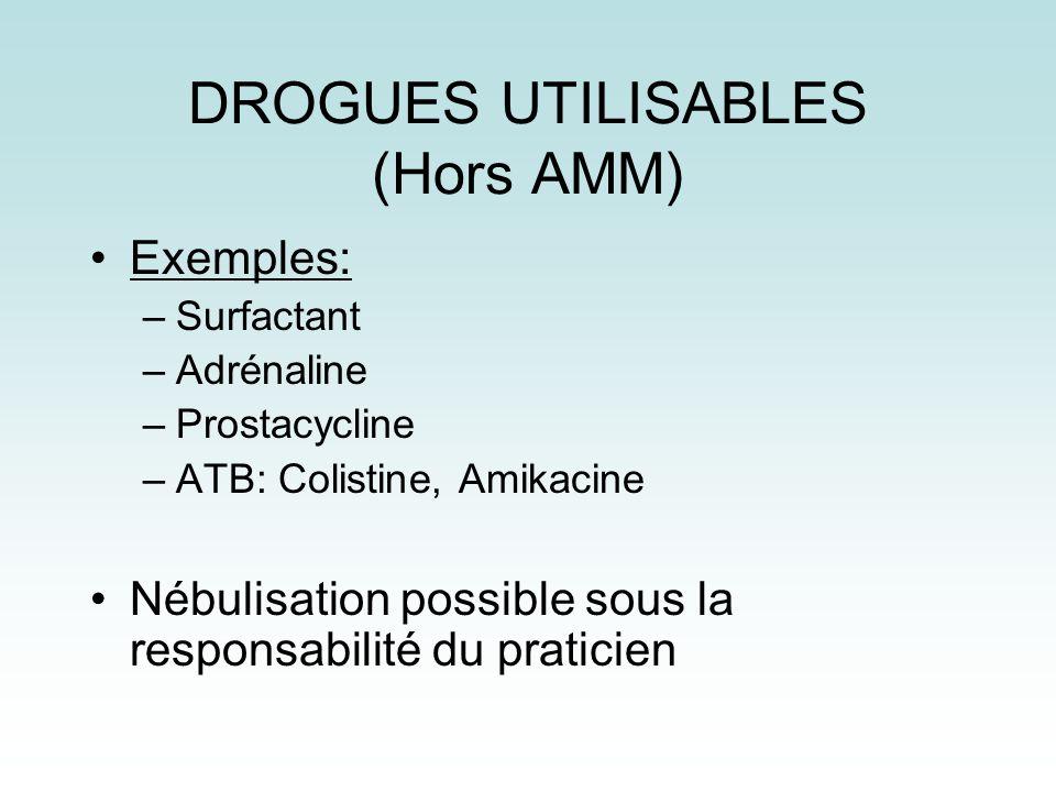 DROGUES UTILISABLES (Hors AMM) Exemples: –Surfactant –Adrénaline –Prostacycline –ATB: Colistine, Amikacine Nébulisation possible sous la responsabilit