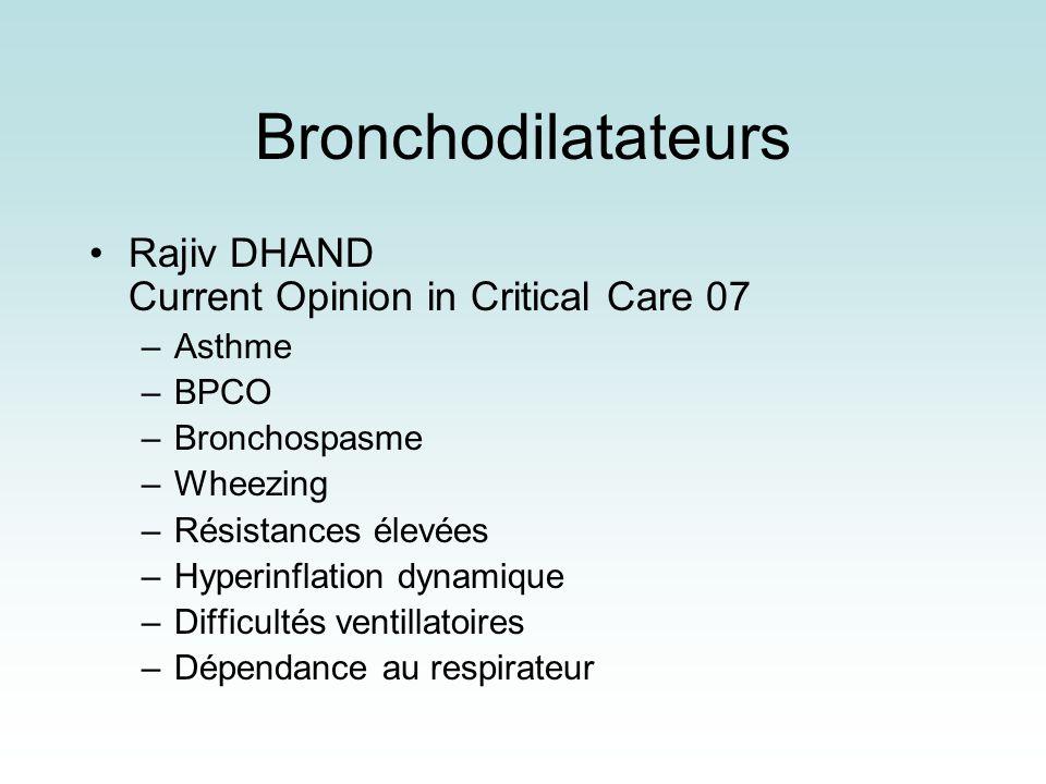 Bronchodilatateurs Rajiv DHAND Current Opinion in Critical Care 07 –Asthme –BPCO –Bronchospasme –Wheezing –Résistances élevées –Hyperinflation dynamiq