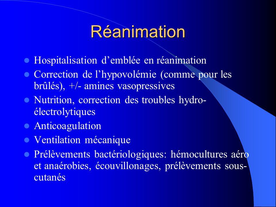 Réanimation Hospitalisation demblée en réanimation Correction de lhypovolémie (comme pour les brûlés), +/- amines vasopressives Nutrition, correction