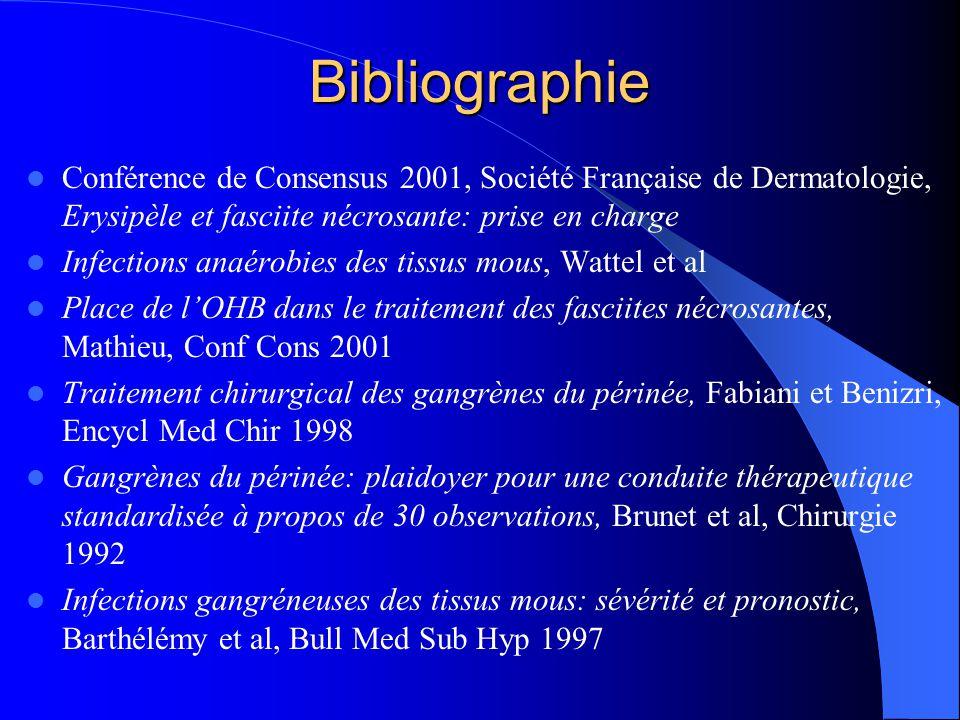 Bibliographie Conférence de Consensus 2001, Société Française de Dermatologie, Erysipèle et fasciite nécrosante: prise en charge Infections anaérobies
