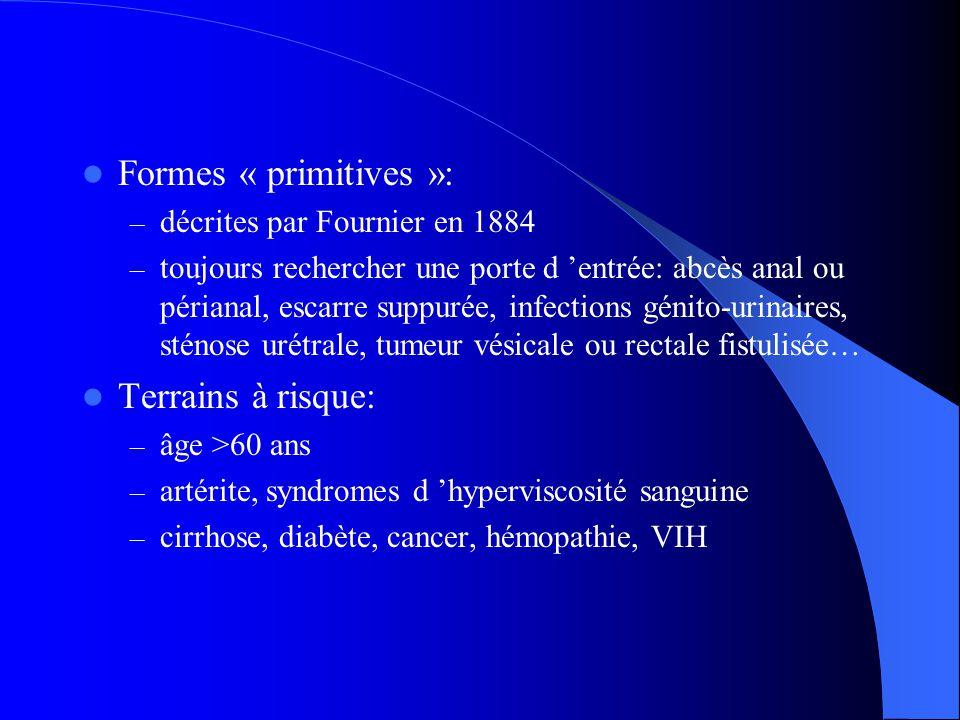 Formes « primitives »: – décrites par Fournier en 1884 – toujours rechercher une porte d entrée: abcès anal ou périanal, escarre suppurée, infections