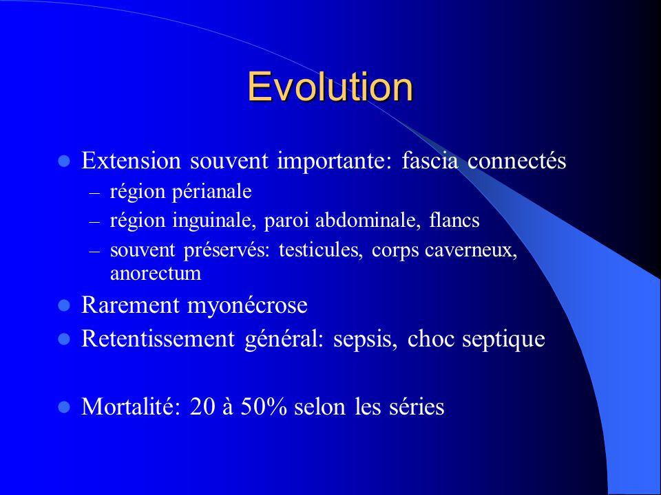 Evolution Extension souvent importante: fascia connectés – région périanale – région inguinale, paroi abdominale, flancs – souvent préservés: testicul