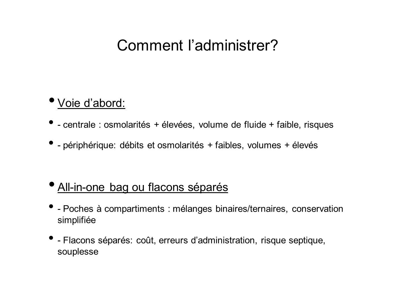 Comment ladministrer? Voie dabord: - centrale : osmolarités + élevées, volume de fluide + faible, risques - périphérique: débits et osmolarités + faib
