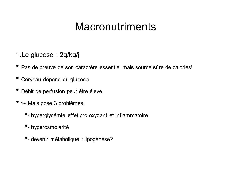 Macronutriments 1. Le glucose : 2g/kg/j Pas de preuve de son caractère essentiel mais source sûre de calories! Cerveau dépend du glucose Débit de perf
