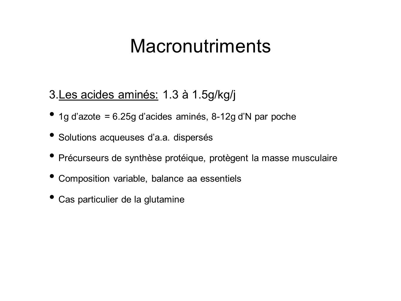 Macronutriments 3. Les acides aminés: 1.3 à 1.5g/kg/j 1g dazote = 6.25g dacides aminés, 8-12g dN par poche Solutions acqueuses da.a. dispersés Précurs