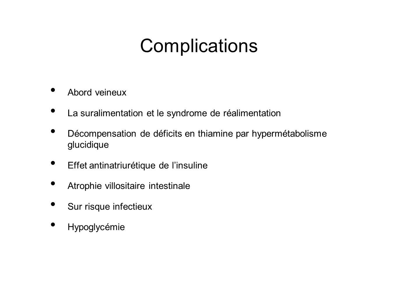 Complications Abord veineux La suralimentation et le syndrome de réalimentation Décompensation de déficits en thiamine par hypermétabolisme glucidique