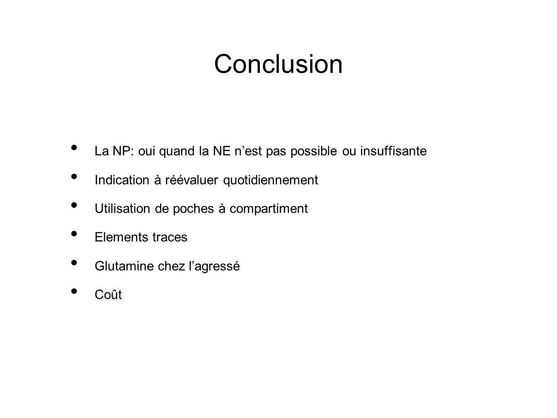 Conclusion La NP: oui quand la NE nest pas possible ou insuffisante Indication à réévaluer quotidiennement Utilisation de poches à compartiment Elemen