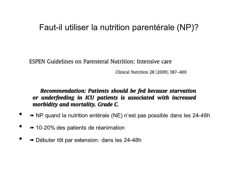 Faut-il utiliser la nutrition parentérale (NP)? NP quand la nutrition entérale (NE) nest pas possible dans les 24-48h 10-20% des patients de réanimati