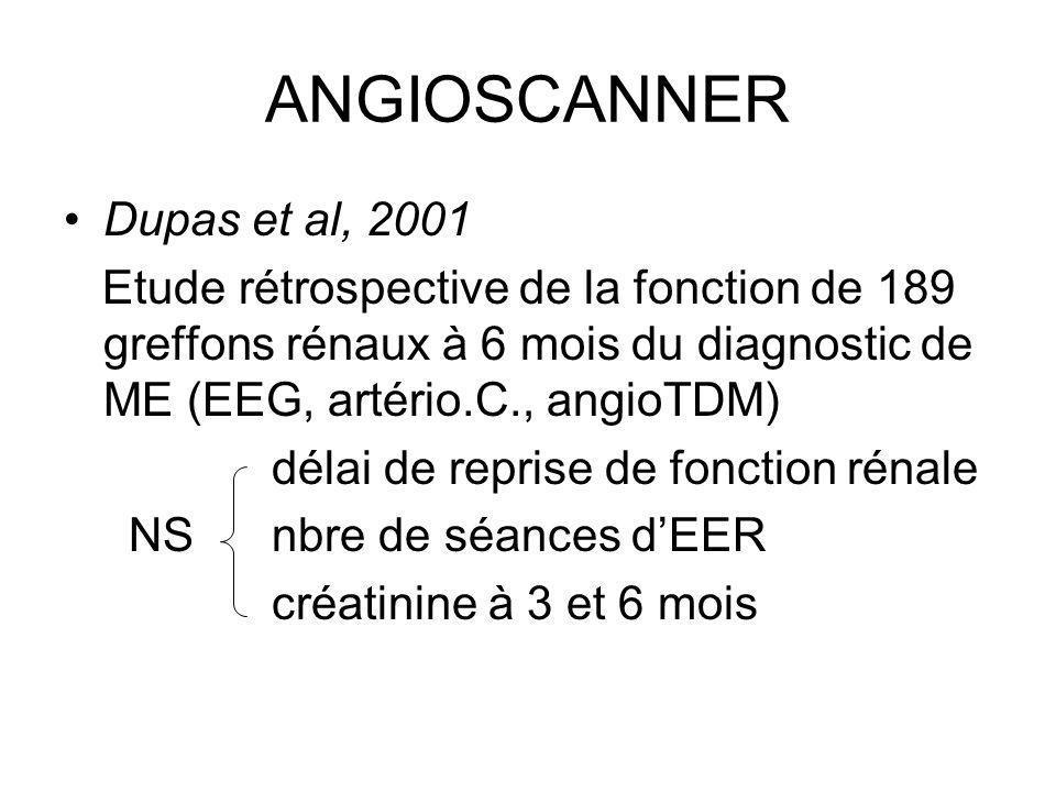 ANGIOSCANNER Dupas et al, 2001 Etude rétrospective de la fonction de 189 greffons rénaux à 6 mois du diagnostic de ME (EEG, artério.C., angioTDM) déla