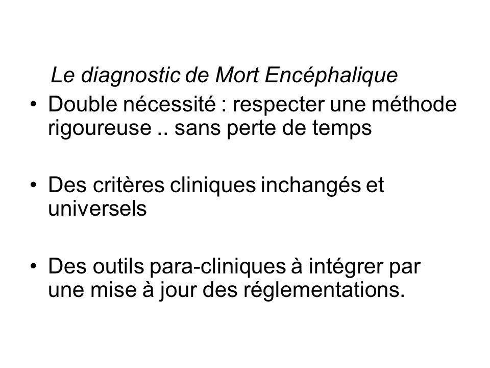 Le diagnostic de Mort Encéphalique Double nécessité : respecter une méthode rigoureuse.. sans perte de temps Des critères cliniques inchangés et unive