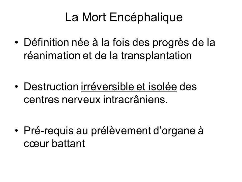 Définition née à la fois des progrès de la réanimation et de la transplantation Destruction irréversible et isolée des centres nerveux intracrâniens.