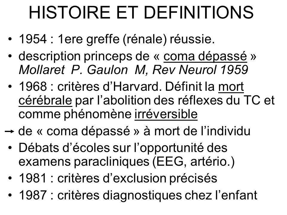 HISTOIRE ET DEFINITIONS 1954 : 1ere greffe (rénale) réussie. description princeps de « coma dépassé » Mollaret P. Gaulon M, Rev Neurol 1959 1968 : cri