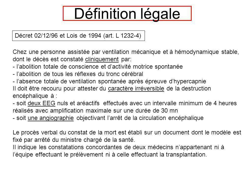 Définition légale Chez une personne assistée par ventilation mécanique et à hémodynamique stable, dont le décès est constaté cliniquement par: - labol