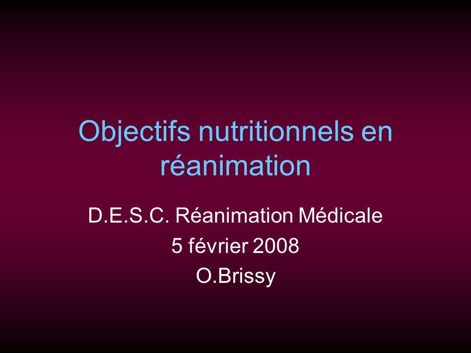 Objectifs nutritionnels en réanimation D.E.S.C. Réanimation Médicale 5 février 2008 O.Brissy