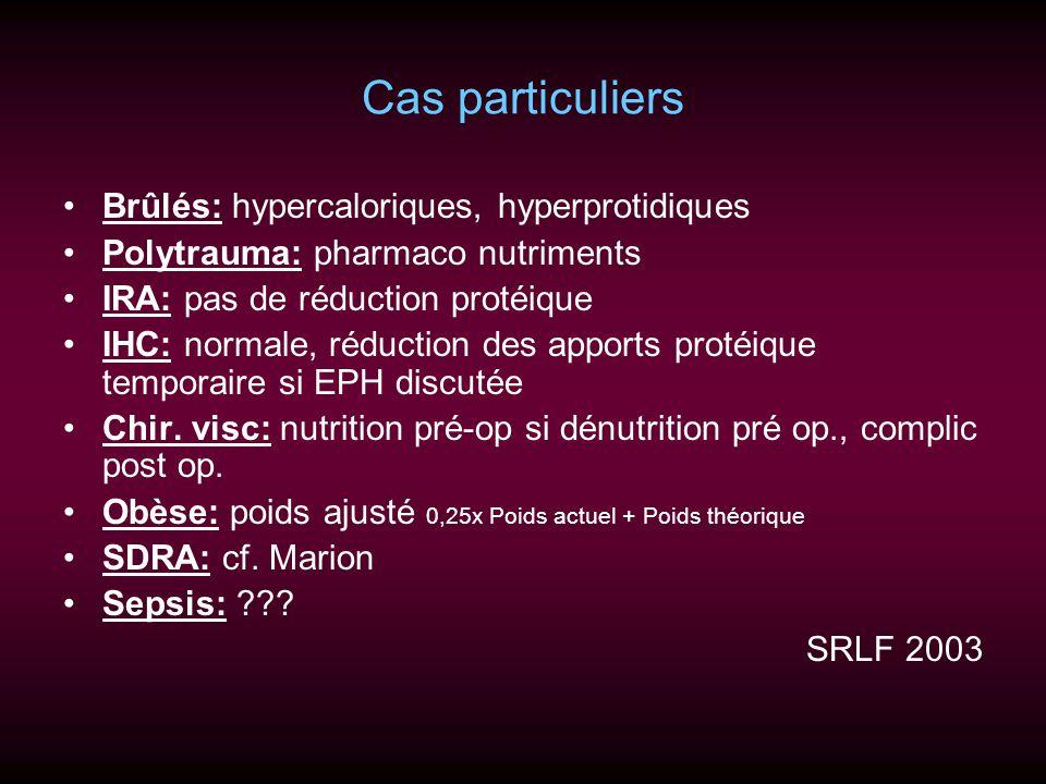 Cas particuliers Brûlés: hypercaloriques, hyperprotidiques Polytrauma: pharmaco nutriments IRA: pas de réduction protéique IHC: normale, réduction des