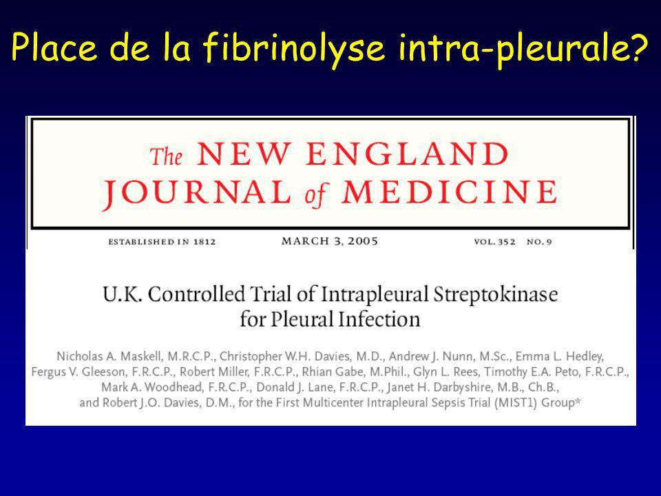 Place de la fibrinolyse intra-pleurale?