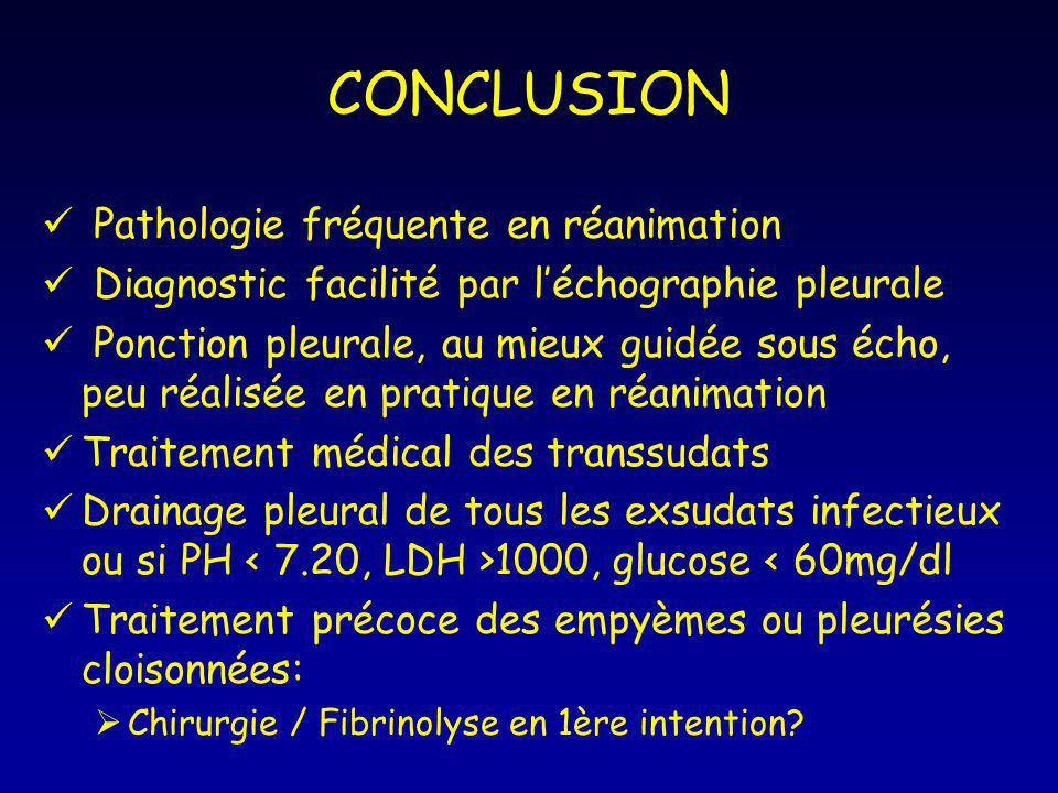 CONCLUSION Pathologie fréquente en réanimation Diagnostic facilité par léchographie pleurale Ponction pleurale, au mieux guidée sous écho, peu réalisé