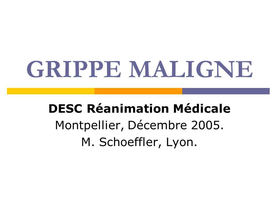GRIPPE MALIGNE DESC Réanimation Médicale Montpellier, Décembre 2005. M. Schoeffler, Lyon.