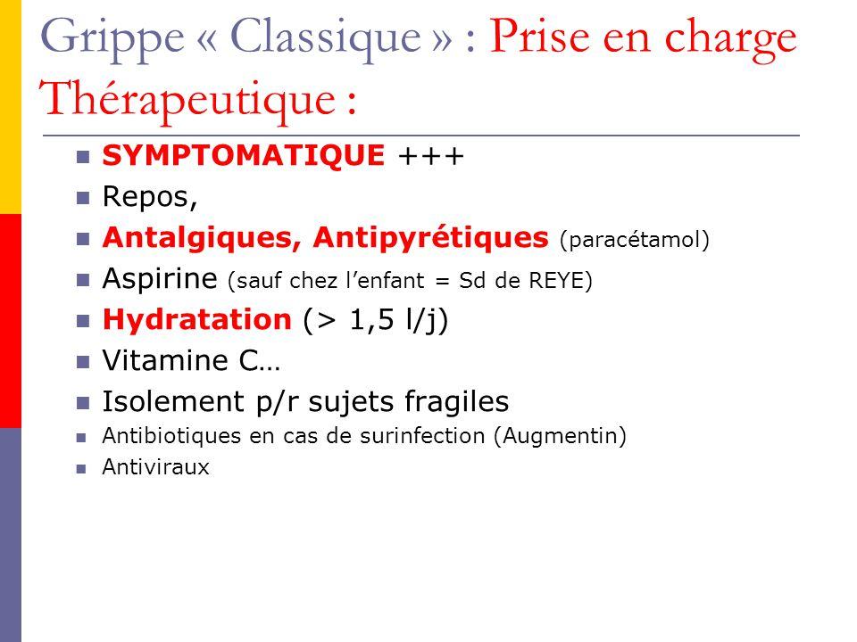 Grippe « Classique » : Prise en charge Thérapeutique : SYMPTOMATIQUE +++ Repos, Antalgiques, Antipyrétiques (paracétamol) Aspirine (sauf chez lenfant = Sd de REYE) Hydratation (> 1,5 l/j) Vitamine C… Isolement p/r sujets fragiles Antibiotiques en cas de surinfection (Augmentin) Antiviraux