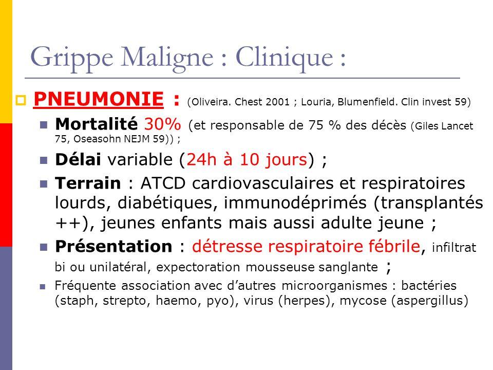 Grippe Maligne : Clinique : PNEUMONIE : (Oliveira. Chest 2001 ; Louria, Blumenfield. Clin invest 59) Mortalité 30% (et responsable de 75 % des décès (