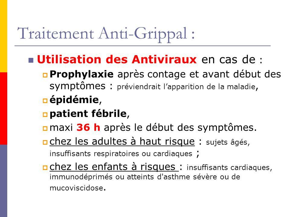 Traitement Anti-Grippal : Utilisation des Antiviraux en cas de : Prophylaxie après contage et avant début des symptômes : préviendrait lapparition de la maladie, épidémie, patient fébrile, maxi 36 h après le début des symptômes.