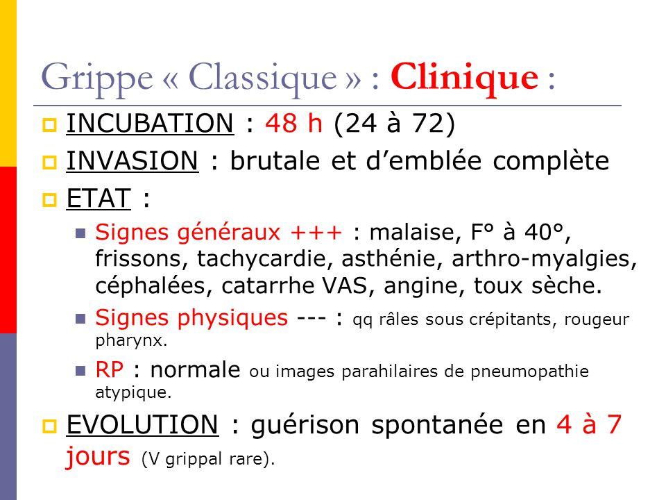 Grippe « Classique » : Clinique : INCUBATION : 48 h (24 à 72) INVASION : brutale et demblée complète ETAT : Signes généraux +++ : malaise, F° à 40°, frissons, tachycardie, asthénie, arthro-myalgies, céphalées, catarrhe VAS, angine, toux sèche.