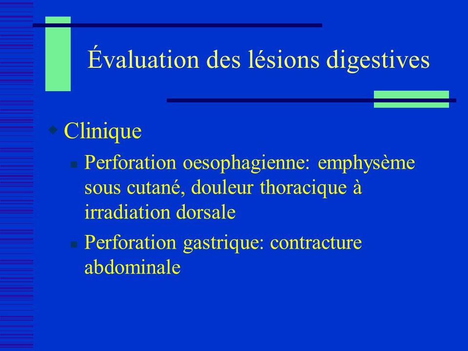 Évaluation des lésions digestives Clinique Perforation oesophagienne: emphysème sous cutané, douleur thoracique à irradiation dorsale Perforation gast