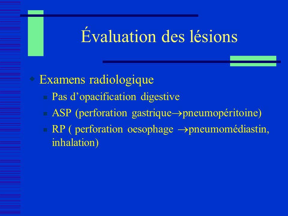 Évaluation des lésions Examens radiologique Pas dopacification digestive ASP (perforation gastrique pneumopéritoine) RP ( perforation oesophage pneumo