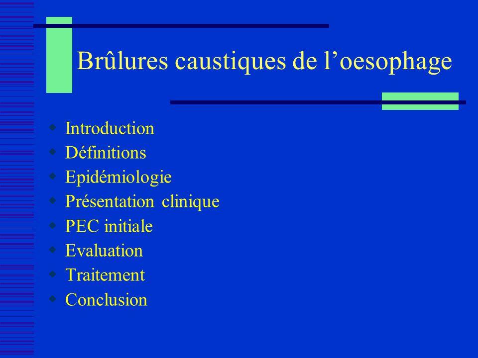 Brûlures caustiques de loesophage Introduction Définitions Epidémiologie Présentation clinique PEC initiale Evaluation Traitement Conclusion