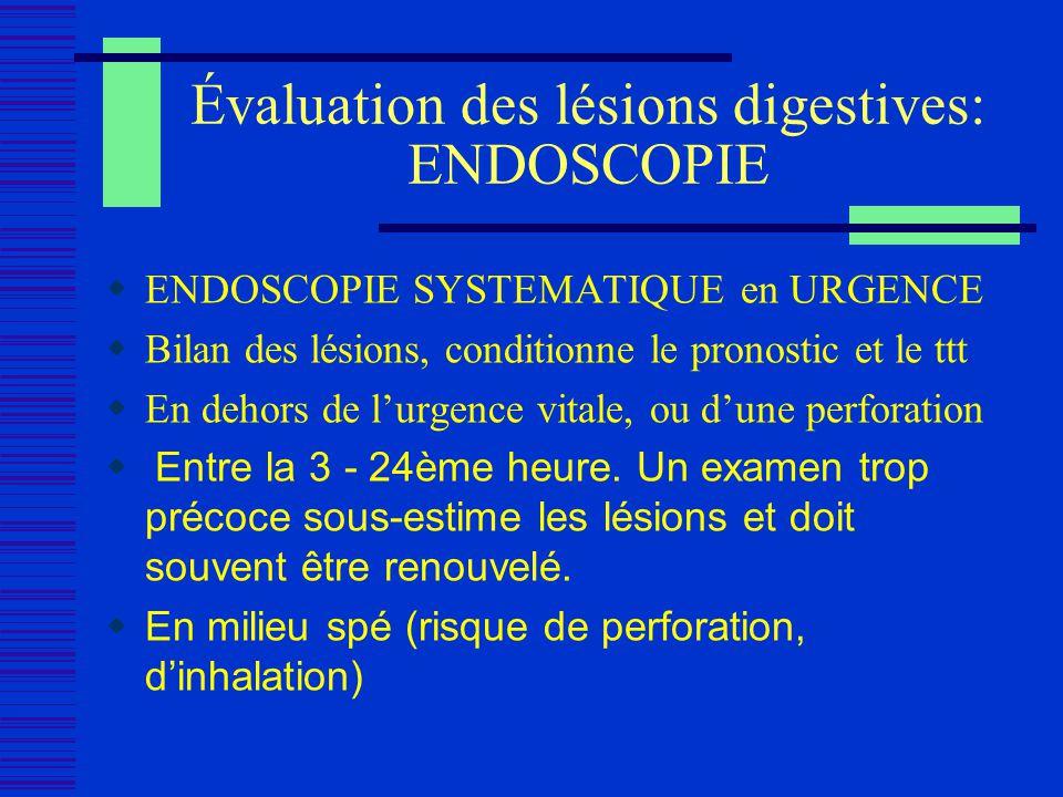 Évaluation des lésions digestives: ENDOSCOPIE ENDOSCOPIE SYSTEMATIQUE en URGENCE Bilan des lésions, conditionne le pronostic et le ttt En dehors de lu