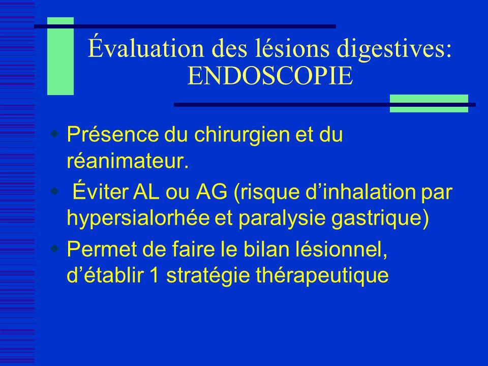 Évaluation des lésions digestives: ENDOSCOPIE Présence du chirurgien et du réanimateur. Éviter AL ou AG (risque dinhalation par hypersialorhée et para