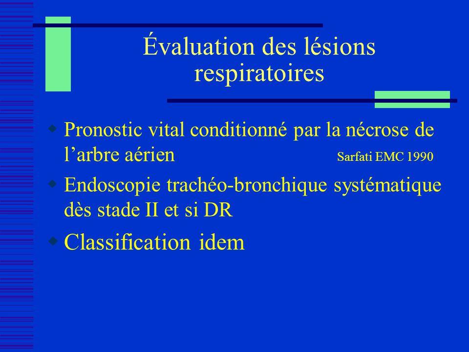 Évaluation des lésions respiratoires Pronostic vital conditionné par la nécrose de larbre aérien Sarfati EMC 1990 Endoscopie trachéo-bronchique systém