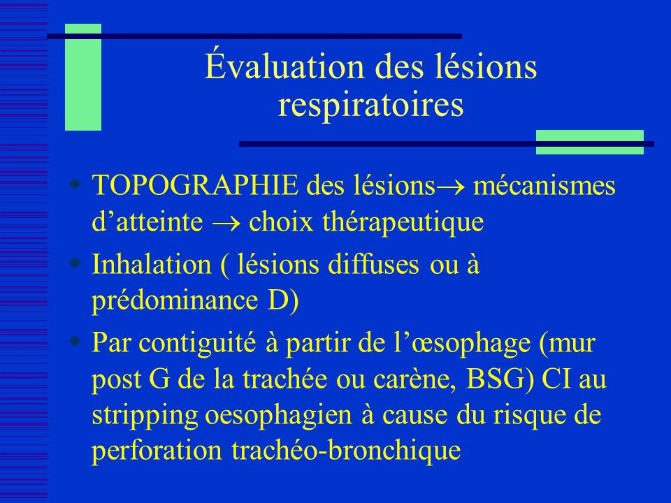Évaluation des lésions respiratoires TOPOGRAPHIE des lésions mécanismes datteinte choix thérapeutique Inhalation ( lésions diffuses ou à prédominance