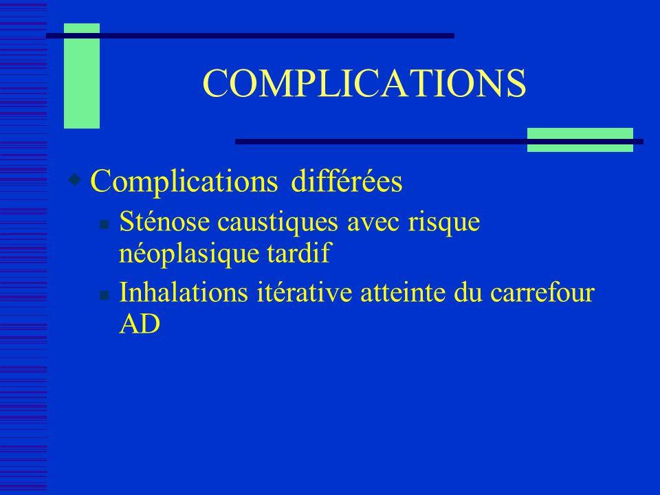 COMPLICATIONS Complications différées Sténose caustiques avec risque néoplasique tardif Inhalations itérative atteinte du carrefour AD
