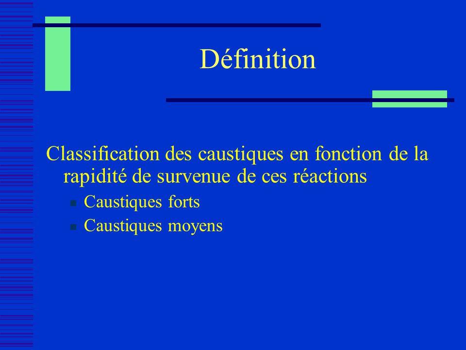 Définition Classification des caustiques en fonction de la rapidité de survenue de ces réactions Caustiques forts Caustiques moyens