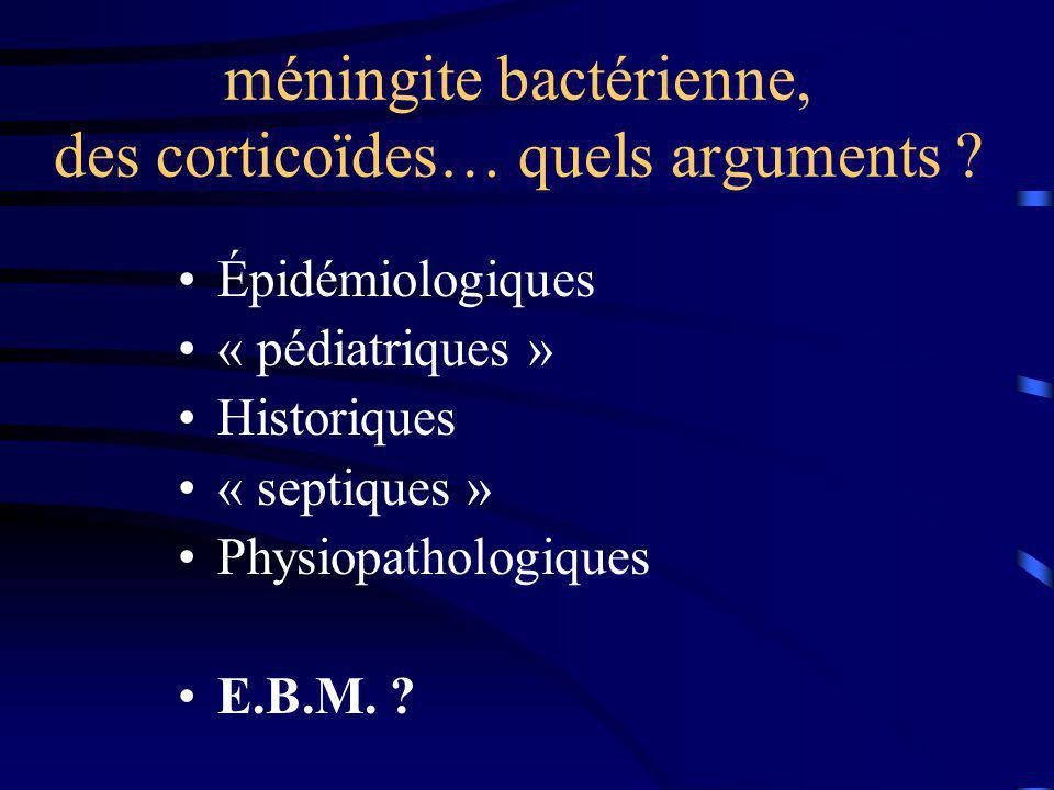 Argument épidémiologique: 85% PN(pneumocoque) et MG(méningocoque) mortalité de 26% et 10% respectivement séquelles neuropsychiatriques importantes peu de traitements adjuvants !