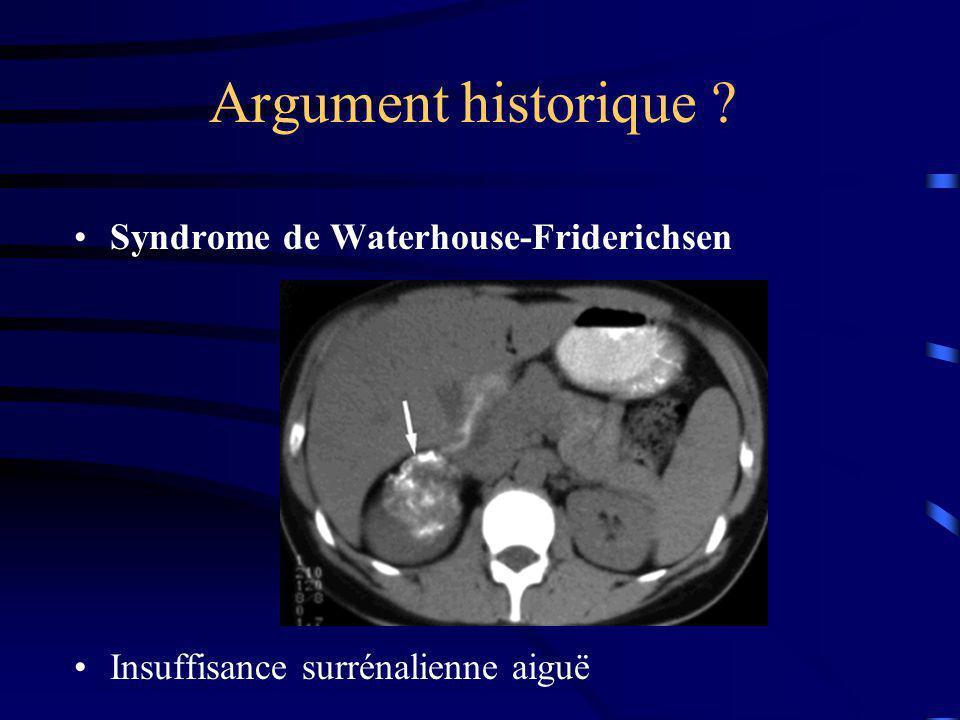 Argument « septique »… Prise en charge du choc septique Insuffisance surrénalienne relative Intérêt de lhydrocortisone sur la mortalité