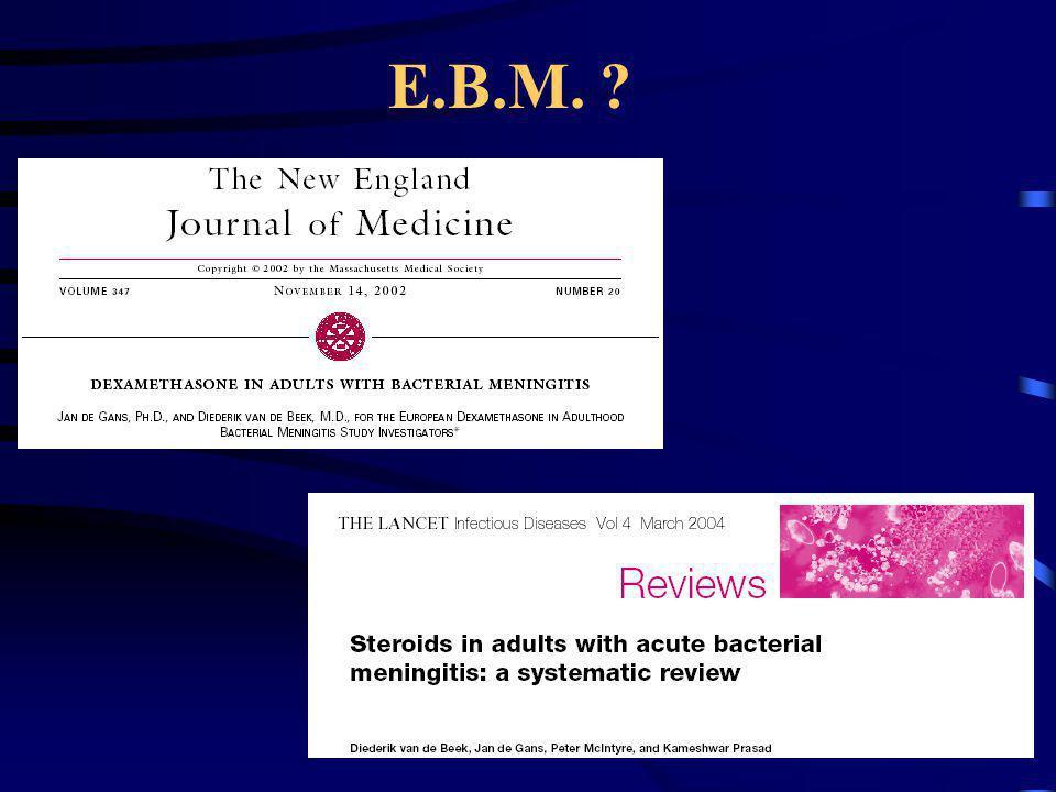 NEJM 2002 Double aveugle Randomisée Multi-centrique Intention de traiter Adulte 1993-2001 Age > 17 ans Suspicion MB Lcr trouble Gram bactéries Leuco > 1000 Consentement écrit CI: BK, UGD, grossesse……