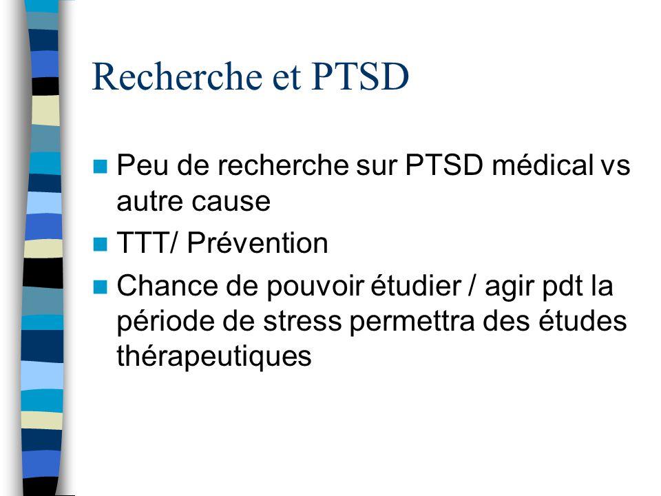 Recherche et PTSD Peu de recherche sur PTSD médical vs autre cause TTT/ Prévention Chance de pouvoir étudier / agir pdt la période de stress permettra