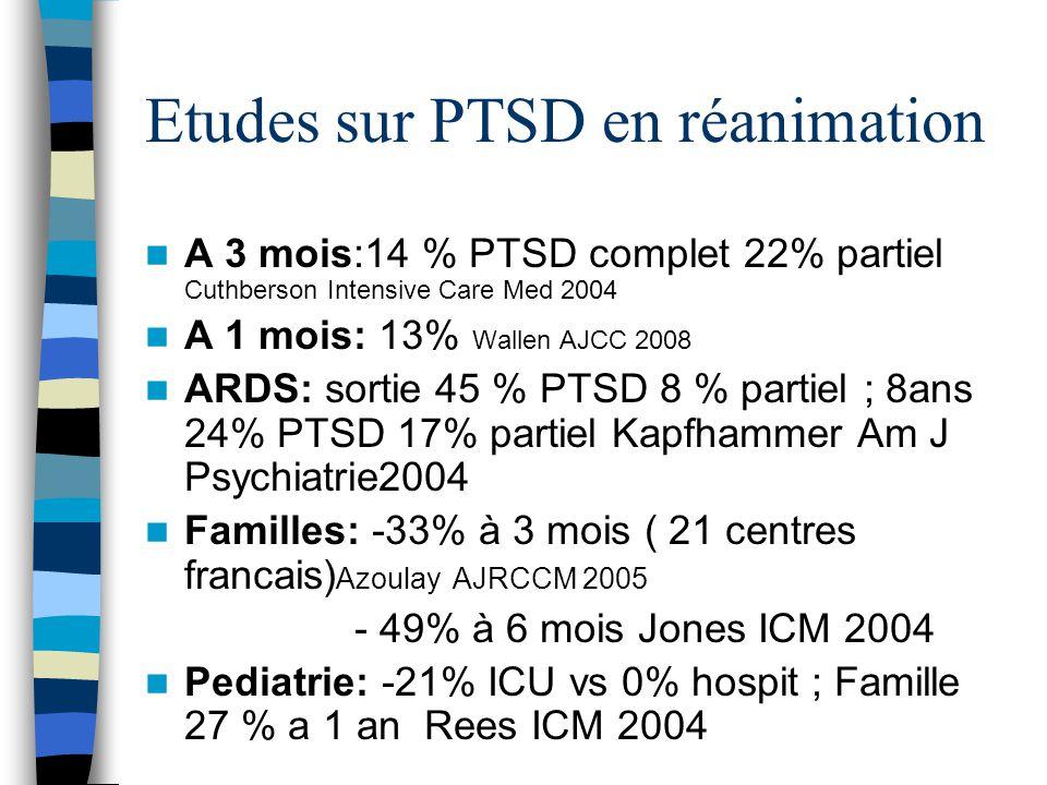 Etudes sur PTSD en réanimation A 3 mois:14 % PTSD complet 22% partiel Cuthberson Intensive Care Med 2004 A 1 mois: 13% Wallen AJCC 2008 ARDS: sortie 4