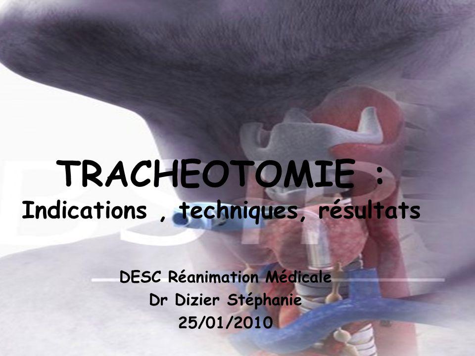 TRACHEOTOMIE : Indications, techniques, résultats DESC Réanimation Médicale Dr Dizier Stéphanie 25/01/2010