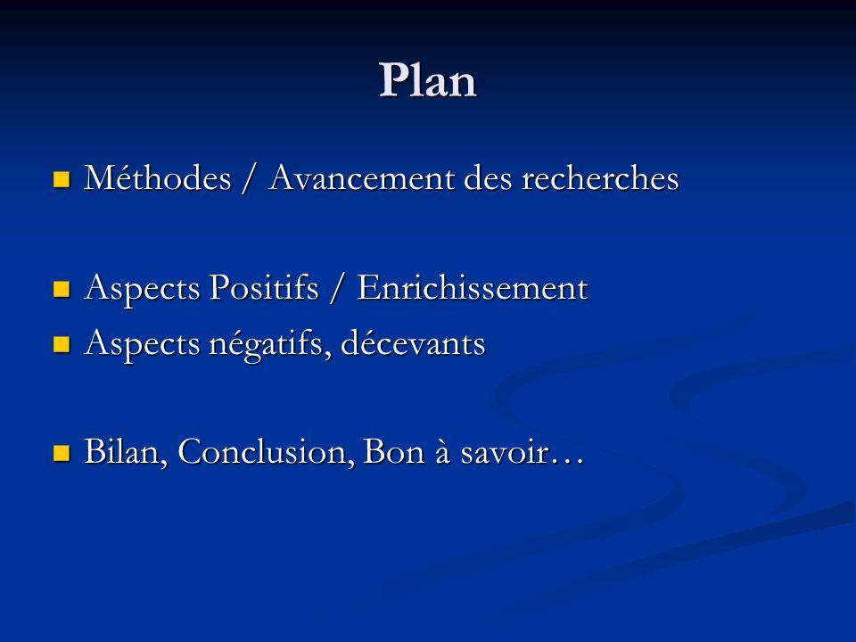 Plan Méthodes / Avancement des recherches Méthodes / Avancement des recherches Aspects Positifs / Enrichissement Aspects Positifs / Enrichissement Asp