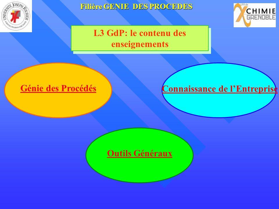 Génie des Procédés Connaissance de lEntreprise L3 GdP: le contenu des enseignements Outils Généraux FilièreGENIE DES PROCEDES Filière GENIE DES PROCED