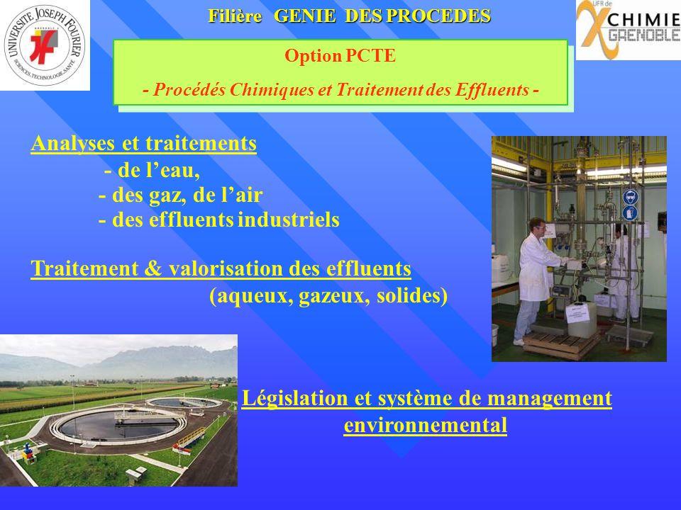 Filière GENIE DES PROCEDES Option PCTE - Procédés Chimiques et Traitement des Effluents - Option PCTE - Procédés Chimiques et Traitement des Effluents