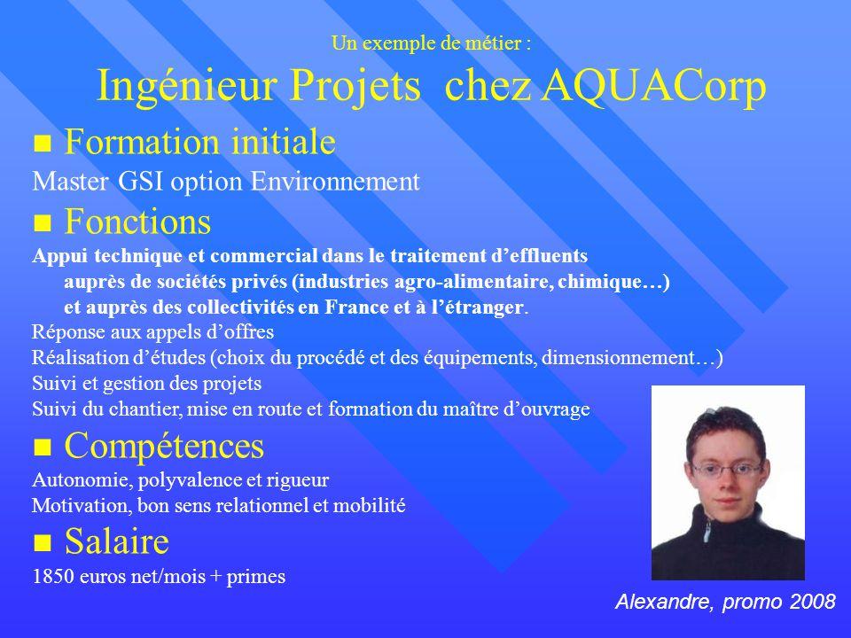 Un exemple de métier : Ingénieur Projets chez AQUACorp Formation initiale Master GSI option Environnement Fonctions Appui technique et commercial dans