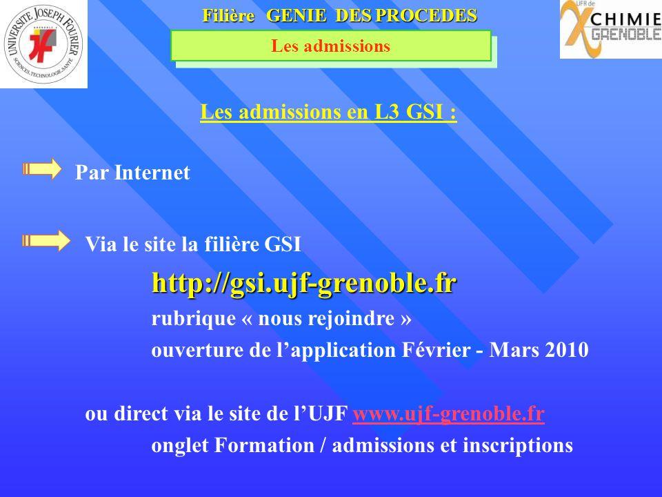 Filière GENIE DES PROCEDES Les admissions Les admissions en L3 GSI : Via le site la filière GSIhttp://gsi.ujf-grenoble.fr rubrique « nous rejoindre »