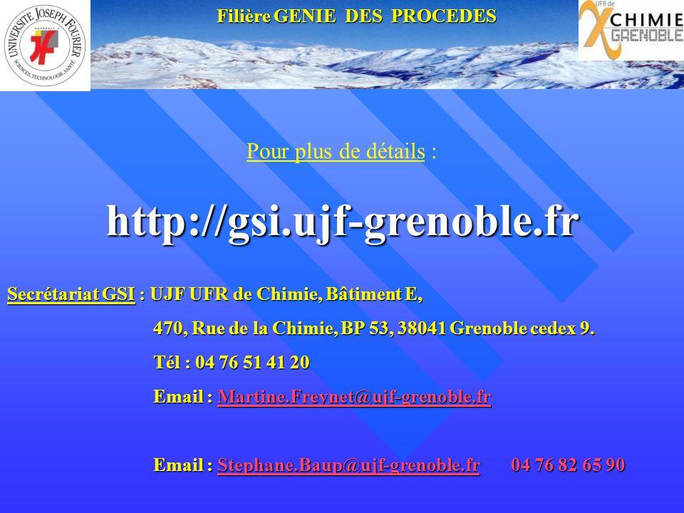Pour plus de détails :http://gsi.ujf-grenoble.fr Secrétariat GSI : UJF UFR de Chimie, Bâtiment E, 470, Rue de la Chimie, BP 53, 38041 Grenoble cedex 9