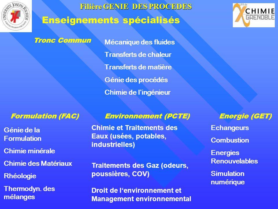 Enseignements spécialisés Formulation (FAC)Environnement (PCTE)Energie (GET) Génie de la Formulation Chimie minérale Chimie des Matériaux Rhéologie Th