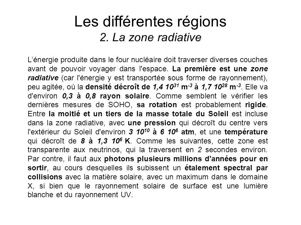 Les différentes régions 2. La zone radiative Lénergie produite dans le four nucléaire doit traverser diverses couches avant de pouvoir voyager dans l'